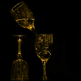 Gold Glass by Sufyan Al-Shatshat - Artistic Objects Cups, Plates & Utensils ( cup, cups, artistic, glass, 50mm, nikon d, gold, nikon, black )