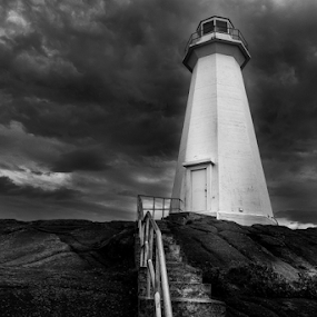 Beacon II by Nigel Bullers - Black & White Buildings & Architecture ( clouds, sky, lighthouse, bw, architecture, landscape )