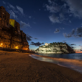 Tropea by night by Andrea Papaleo Ph - Buildings & Architecture Other Exteriors ( samyang, tropea, blue hour, sea, long exposure, calabria, italy, nightscape )