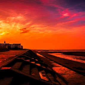 Steps at Sunset by Mike Shields - Buildings & Architecture Other Exteriors ( north wales, sunset, dramatic, sea, steps, beach, skt, prestatyn )
