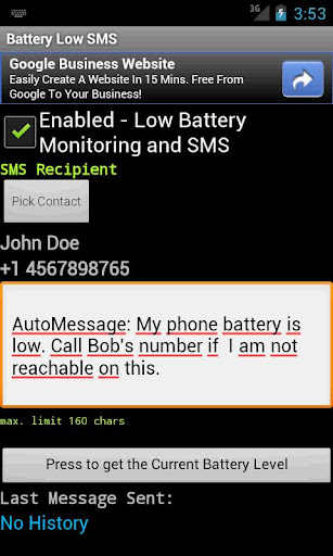 Battery Low SMS