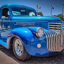 Blacktop Nationals - Blue Truck by Ron Meyers - Transportation Automobiles