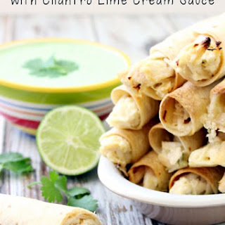 Spicy Jalapeno Chicken Taquitos with Cilantro Lime Cream Sauce