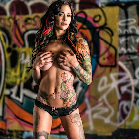 Mal Maxx by Charles Lugtu - People Body Art/Tattoos ( natural light, model, makeup, edgy, pinup, bikini, pose, style, mua, graffiti, d800, fierce, inkd model, lingere, heels, artist, nikon, nik software, leather, hair, boots, san diego photographer, wild hair, colors, art, tattoo model, badass, san diego, tattoos, san diego model, censored, nik, , #GARYFONGDRAMATICLIGHT, #WTFBOBDAVIS )