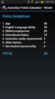 Screenshot of Australian Points Calculator