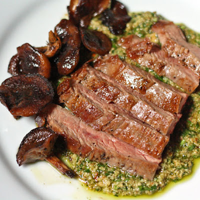 Pan-Seared Flank Steak with Shiitake Mushrooms and Pumpkin Seed Sauce