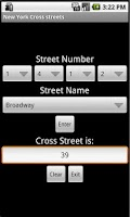 Screenshot of New York Cross streets