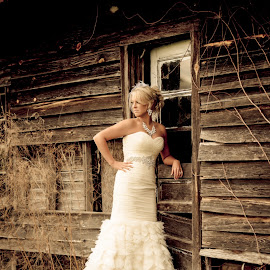 by Jody Johnson - Wedding Bride ( barn, vintage, outdoors, photorad )