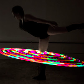 Ballet Illuminated by Rachel Pindroh - People Musicians & Entertainers ( hula hoop light colorful woman ballet )
