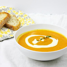 Roasted Carrot & Parsnip Soup with Lemon Ginger Cream