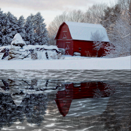 Red Barn Reflections by Janet Lyle - Buildings & Architecture Other Exteriors ( winter, barn, snow )
