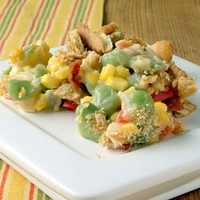 Succotash-Cheddar Casserole with Crunchy Bacon Topping