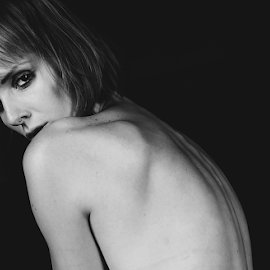 Out of the Dark by Sara Kager - Nudes & Boudoir Artistic Nude ( studio, black and white, woman, dark, artistic nude, nudes, eyes,  )