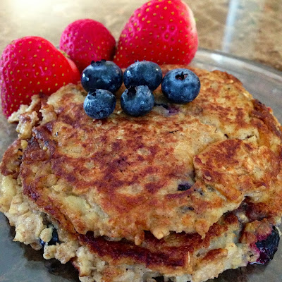 Today I'm here with another recipe, this time-- Oatmeal Blueberry Pancakes!