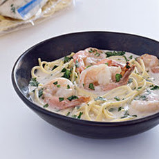 Shrimp and Spaghetti in Coconut Broth