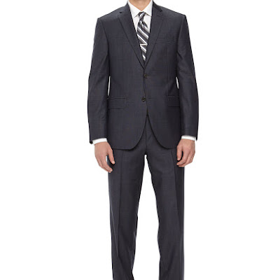 Neiman Marcus Two-Piece Neat Wool Suit, Navy - (42L)