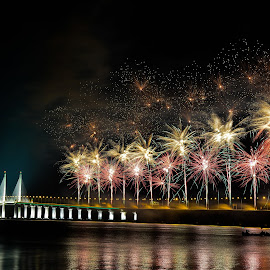 Hanabi by Chin Fei Ng - Buildings & Architecture Bridges & Suspended Structures ( bridge; fireworks; reflection; boats; night )