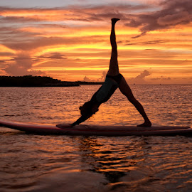 Triangle by Troy Wheatley - Sports & Fitness Other Sports ( orange, water., sunset, paddleboard, sup, yoga )