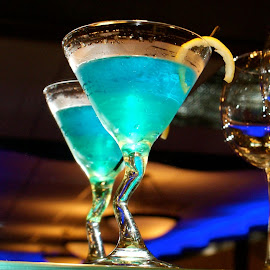 Blue Drop by Nikki Lee - Food & Drink Alcohol & Drinks ( mirror, reflection, blue, martini )
