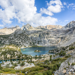 Rae Lakes by Walter Hsiao - Landscapes Mountains & Hills ( clouds, backpacking, national park, sierra nevada, mountain, california, king's canyon, rae lakes, hiking )