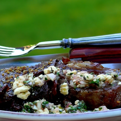 Ribeyes with Red Wine-Feta Vinaigrette