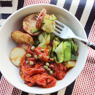 Make-Ahead Zucchini and Roasted Potato Puttanesca