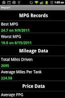 Screenshot of Gas Mileage Tracker