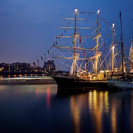 Tall ships by Greg Brzezicki - Transportation Boats ( thames, london, ship, night, river,  )