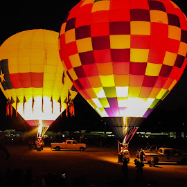 Night Glow Twins by Greg Moore - Transportation Other ( night festival, texas balloon, night glow, light em up, twin balloons )