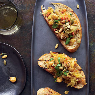 Curried Spaghetti-Squash-and-Chickpea Toasts