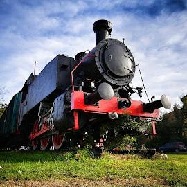 History by Milos Vasic - Transportation Trains ( clouds, rails, engine, watt, travel, tracks, machine, holiday, adventure, red, transport, locomotive, coal, train, black, steam,  )