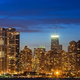 Chicago Skyline by Khursheed Siddiqui - City,  Street & Park  Skylines ( lights, skyline, night photography, skyscraper, lighting, chicago, nightscapes )