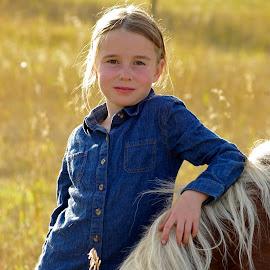 by Giselle Pierce - Babies & Children Child Portraits ( field, child, little girl, girl, mane, grass, horse, children, demin, hair, kid )