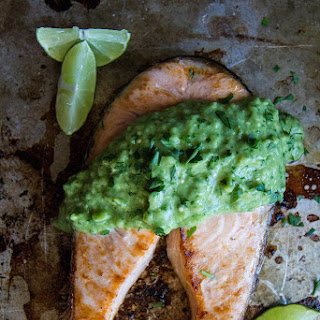 Broiled Salmon Steak with Creamy Avocado Sauce