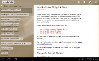 Screenshot of MobileNoter SE HD for Tablet