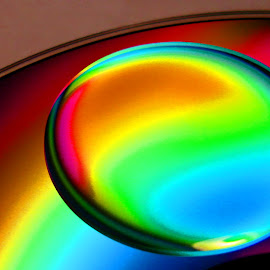 Oil on a CD by Jeff Grim - Abstract Macro ( oil drop abstract colorful cd )