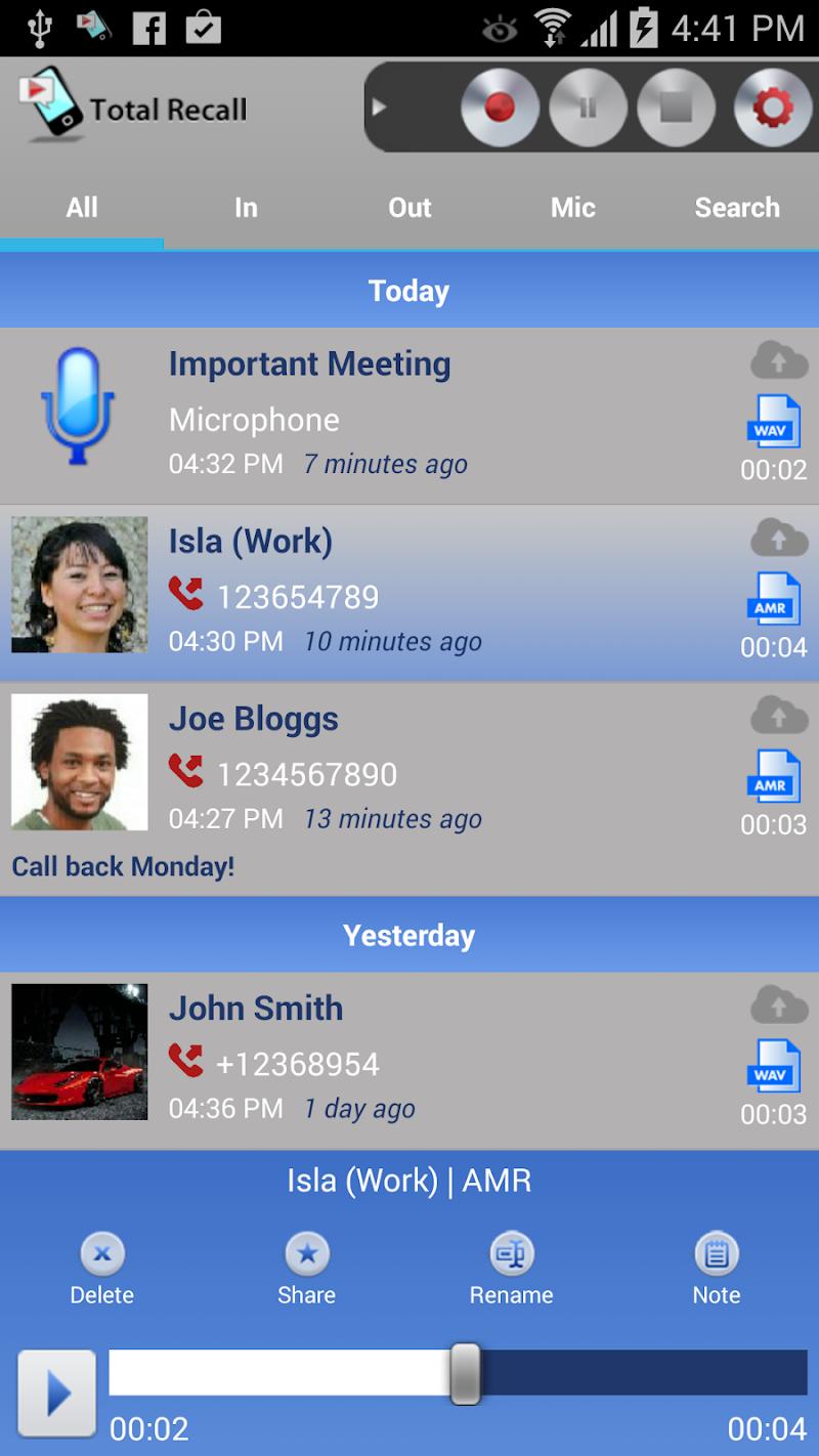 Call Recorder S9 Screenshot 0