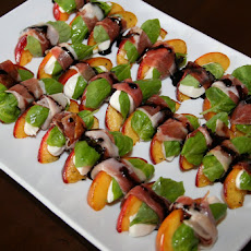 Grilled Peaches with Mozzarella, Basil and Prosciutto