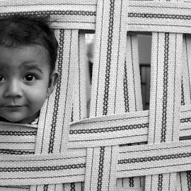 Hide & Seek by Ajay Solanki - Babies & Children Child Portraits ( expression, black and white, place, people, kids portrait )