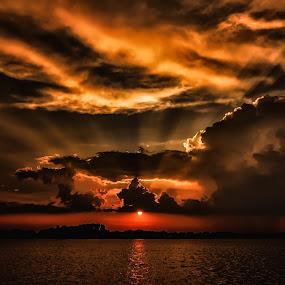 Reach Up To The Heavens by Linda Karlin - Landscapes Sunsets & Sunrises ( nature, sunset, landscape )