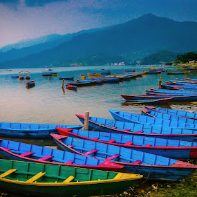 Out for Lunch by Abhishek Shirali - Transportation Boats ( water, colors, boats, transportation, coast, colours, idle, pokhara, fewa lake, blue, device, empty, nepal )