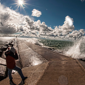 Your Going to get wet  by Claire Lenahan - Landscapes Cloud Formations ( clouds, water, wave, pier, storm, photography, man )