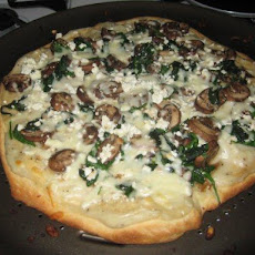 White Spinach and Mushroom Pizza