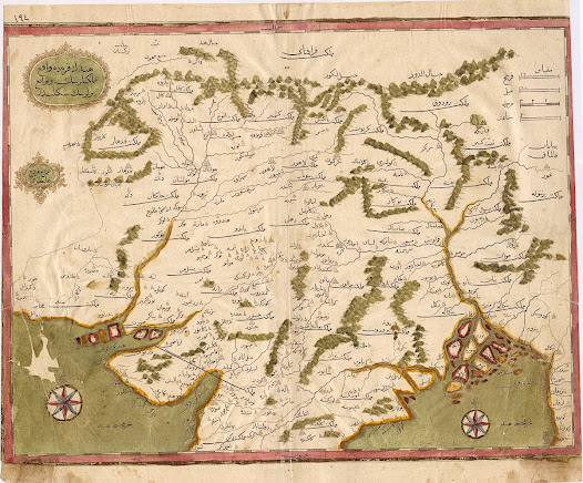 Kâtib Çelebi & Ibrahim Müteferrika.  <b>Northern India – Mughal Empire</b> 1732. Copper engraving with original hand colour, 26.7 x 35.6 cm.  The first map of India to be printed in the Islamic World.  This extraordinary map was published in Istanbul in 1732, making it the earliest map of India to be printed in the Islamic World and the first to employ typography in Arabic characters.  It embraces all of Northern India, being the heartland of the Mughal Empire, which was in its prime when the map was conceived, but in decline when the map was printed.