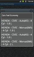 Screenshot of Car Fuel Economy