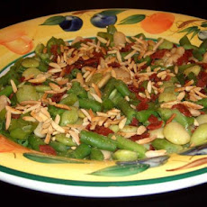 Mixed Beans With Bacon and Almonds