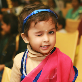 Winking Cuteness by Anurag Bhateja - Babies & Children Children Candids ( child, girl, kanpur, wink, india, baby )