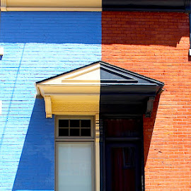 Opposites Attract by Ronnie Caplan - Buildings & Architecture Homes ( doors, reverse, patterns, balconies, buildings, windows, homes, shadows, colours,  )