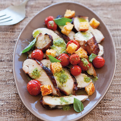 Smoked Chicken Salad with Roasted Cherry Tomatoes