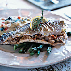 Mushroom and Bacon-Stuffed Trout
